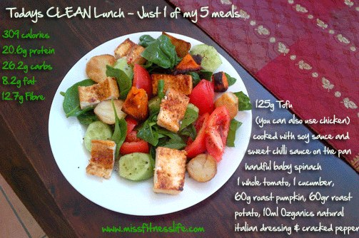 superclean lunch2 Roast Pumkin and Spinach Lunch Salad Recipe
